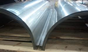 Metal sheet rolled 180 degrees