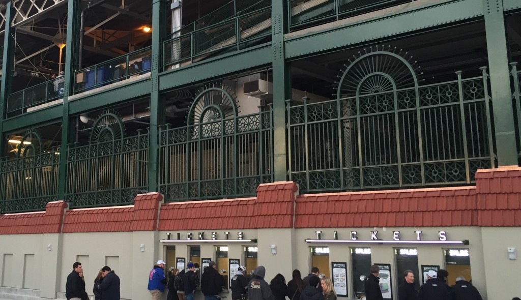 curved steel fencing at Wrigley Field